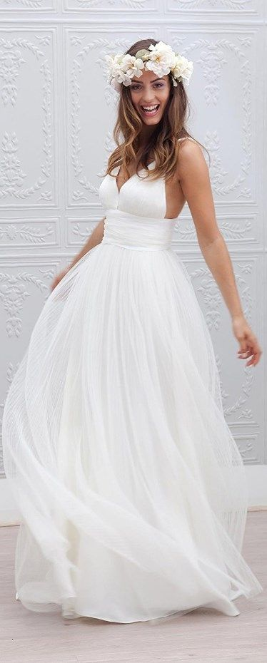 This cute Spaghetti Straps Bridal Gown is perfect for a beach wedding or it's the wedding dress that matches perfectly for your garden style celebration. More at http://www.cutedresses.co/product/spaghetti-straps-bridal-gown-garden-wedding-beach-style/                                                                                                                                                                                 More