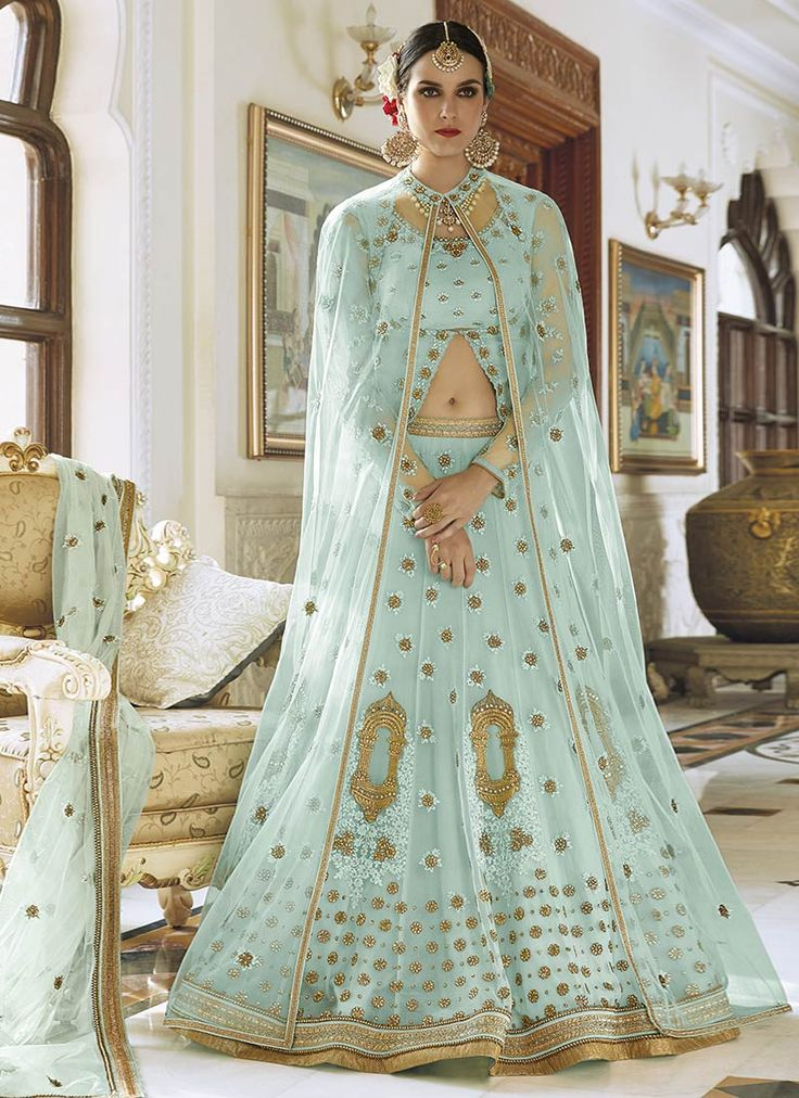 Buy Pale Blue Art Silk Net A Line Lehenga online from the wide collection of a-line-lehenga.  This Blue colored a-line-lehenga in Net fabric goes well with any occasion. Shop online Designer a-line-lehenga from cbazaar at the lowest price.