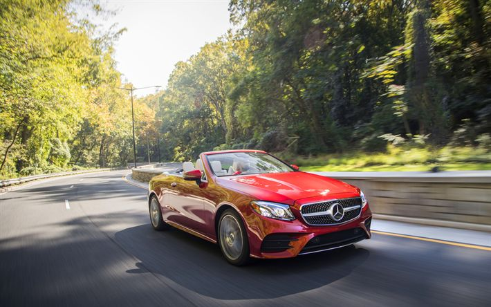 Download wallpapers 4k, Mercedes-Benz E-class Cabriolet, 2018 cars, road, new E-class, Mercedes