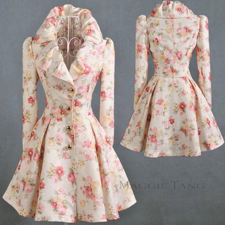 Frauen Lady Vintage-Stil der 50er Jahre Swing Kleid Floral Coat Jacket Mäntel