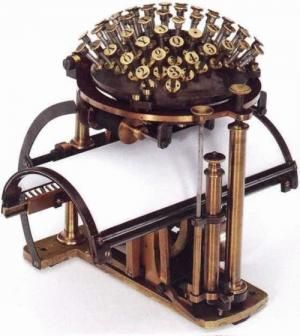 The Malling-Hansen writing ball, the first commercially produced typewriter, 1865.