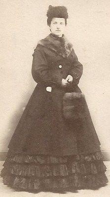 1860s Woman in Hat Hoop Dress Coat with Fun and Fur Muff CDV    civil war era fashion
