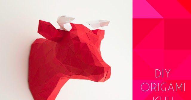 Origami Kuhkopf als Trophäe basteln. Mithilfe der kostenlose Druckvorlage, der Anleitung und ein wenig Papier bastelt ihr eure eigene DIY Wanddeko.