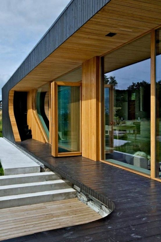 Charming Modern Wooden Cabin With Folding Glass Walls · Modern House ...