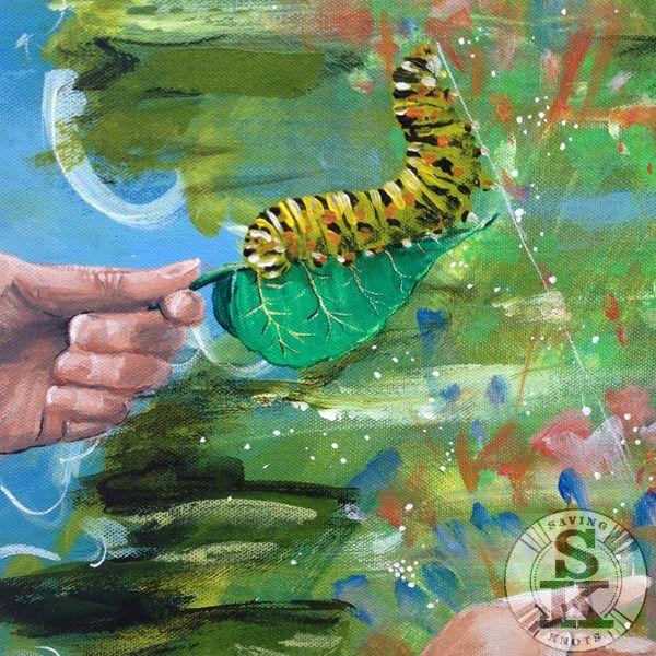 brina schenk - painting in progress - hold on - caterpillar on leaf