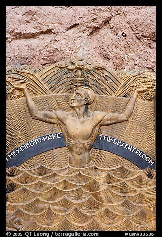 Memorial in Art Deco style to accident victims during the construction. Hoover Dam, Nevada and Arizona (color)