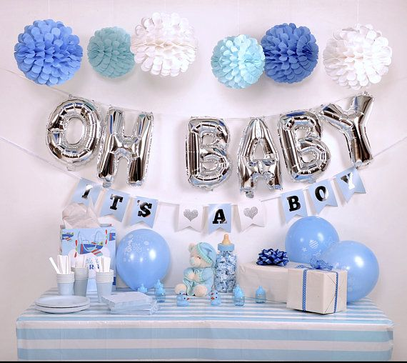 Baby Shower Decoration Kit For Boy Blue And Silver Baby Shower Baby Shower Deco Simple Baby Shower Baby Shower Diy