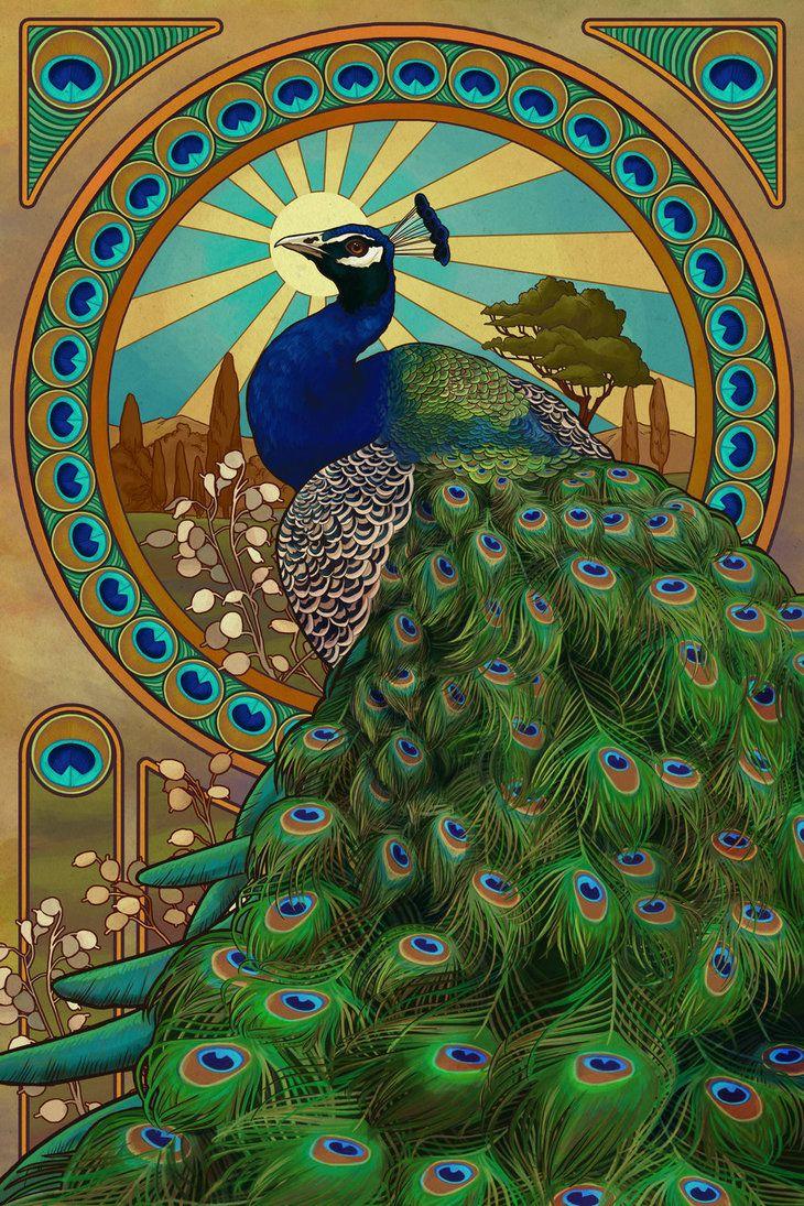 Art Nouveau Peacock by Chronoperates http://chronoperates.deviantart.com/#/d4i28vq