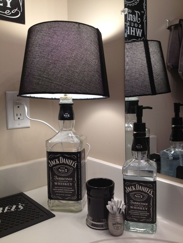 Mancave bathroom: For Darik, it would Jager bottles but still a great idea to keep in mind.