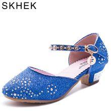 2016 дети принцесса сандалии для девочек Свадебные Туфли модельные туфли на высоком каблуке обувь для вечеринок для девочек розовый синий зо...(China (Mainland))