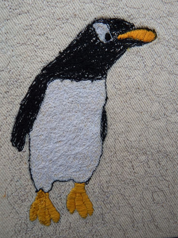 A free-hand machine embroidery of a penguin