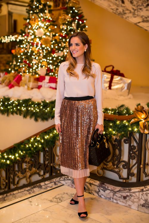 12.14 topshop holiday (Topshop scallop shoulder blouse in nude + Topshop sequin pleated midi skirt in rose gold + Topshop 'Rhonda' velvet high-heeled sandals + Dior earrings + Dior bag + Bobbi Brown 'petal' lipgloss)