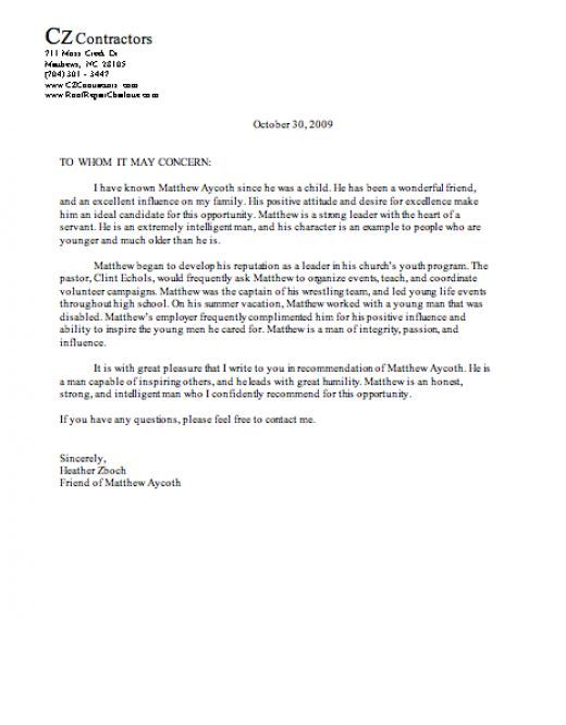 Letter Of Recommendation Character Reference Sample character letter of recommendation