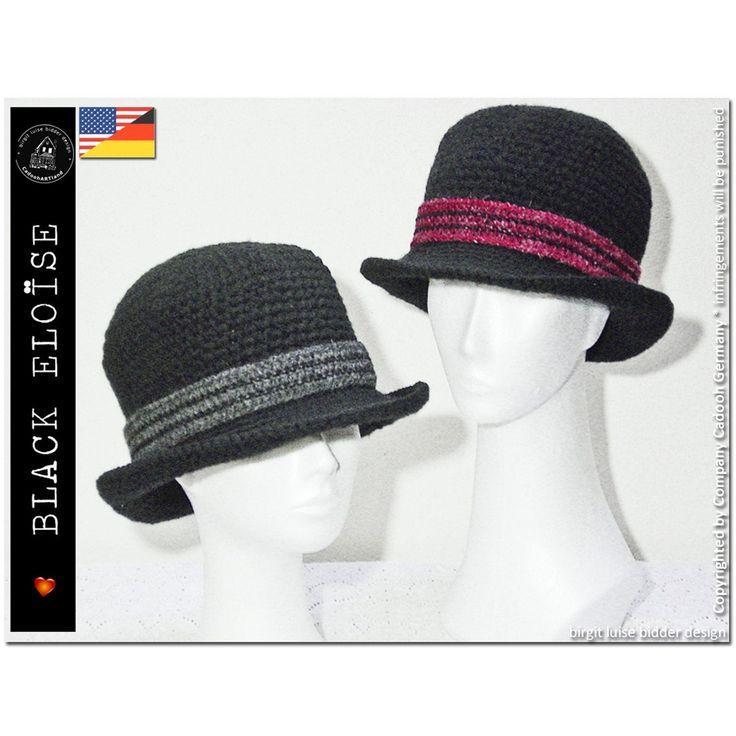 Black Eloise Women S Hat Bowler Style S Xxl Crochet Crochet Elephant Pattern Crochet Patterns