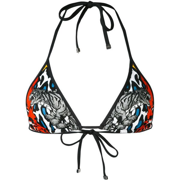 Dsquared2 multi-print triangle bikini top ($155) ❤ liked on Polyvore featuring swimwear, bikinis, bikini tops, black, swimsuit tops, halter triangle bikini, halter bikini tops, animal print bikini and halter top