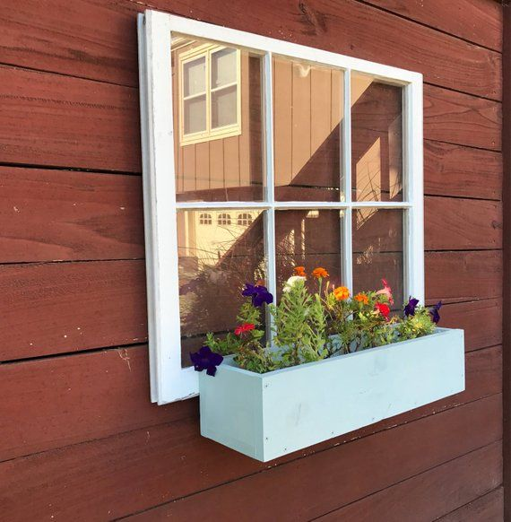 6 Pane Wood Windows Wood Window Flower Box Wood Flower Box Ideas Garden Boxes Outdoor Decor Garden Shed Decor Rustic Woo Window Box Flowers Shed Decor Wood Flower Box