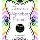 Chevron Alphabet Posters in blue, yellow, green, & orange w/ a picture for each letter of the alphabet & two font choices - lined or unlined. Only $3!