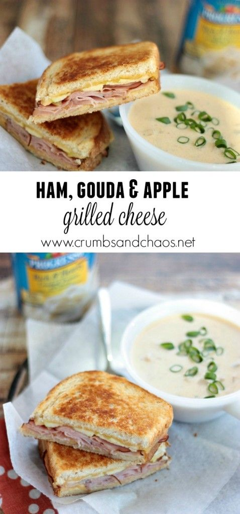 Ham, Gouda & apple grilled cheese <-- make this for a soup and sandwich night next week, Eddie