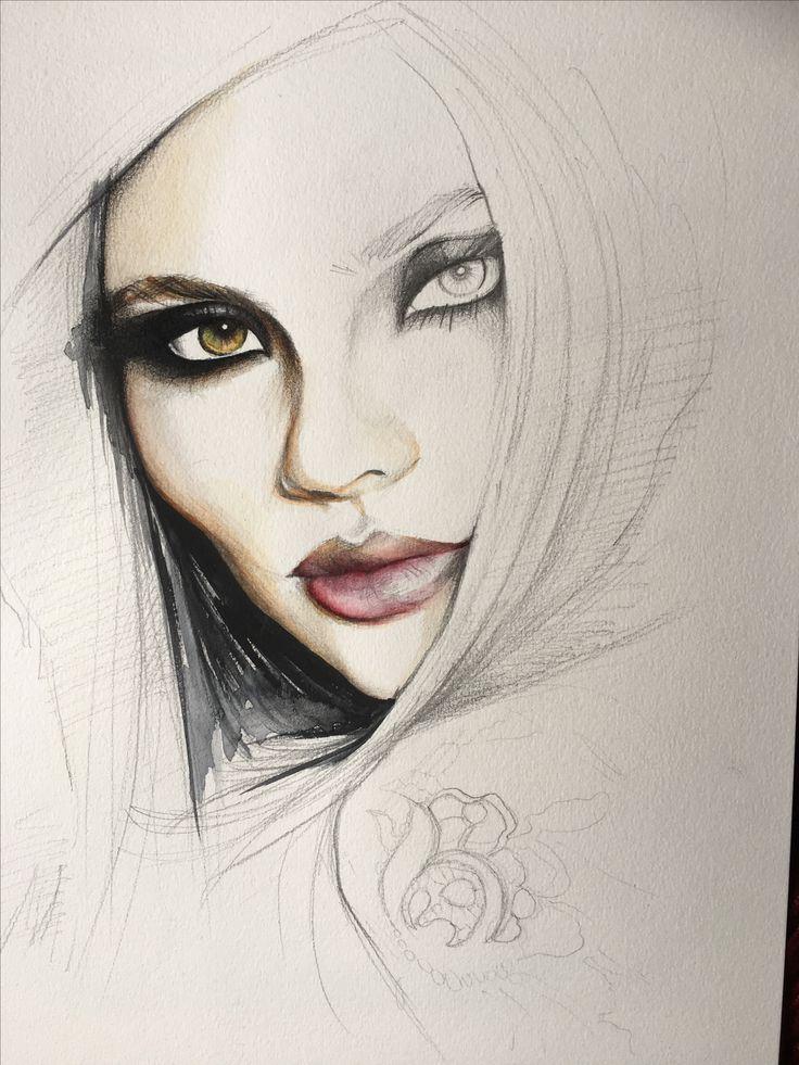 Fashion sketch and fashion illustration by Gabriella Krisztina Gal #watercolor #colorpencil #beauty