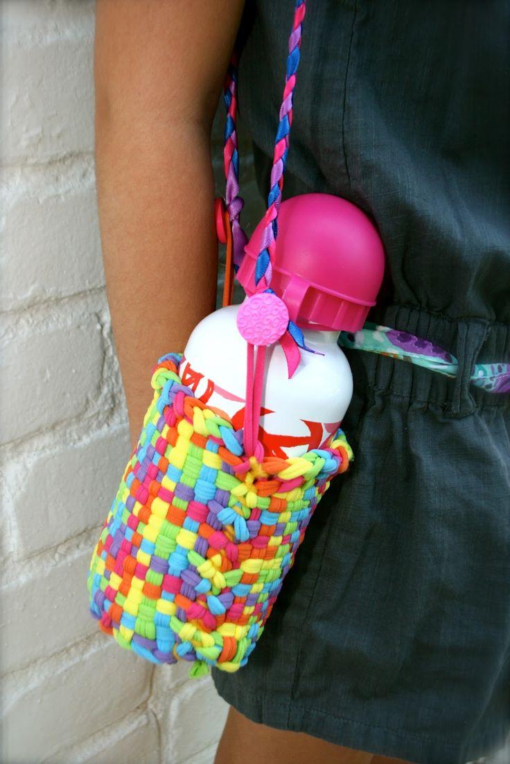 Potholders Gone Fabulous! - potholder loom + yarn, ribbon, buttons = water bottle holder