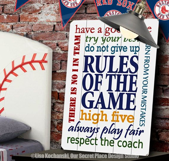 Rules Of The Game Planked Wood Sign Sports Themed Rooms