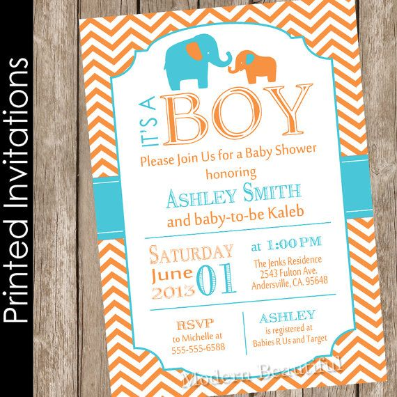 Orange and aqua baby shower invitation elephant by ModernBeautiful