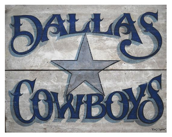 Dallas Cowboy vintage print by ZekesAntiqueSigns on Etsy, $15.00: