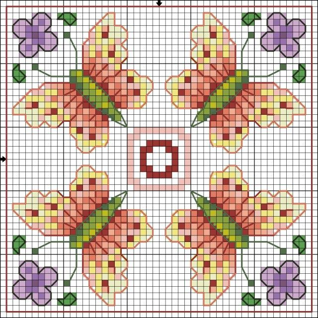 cross stitch chart~~Butterflies and Violets