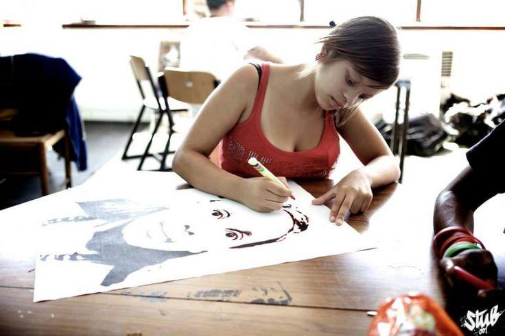 Student Kenethea working on her design