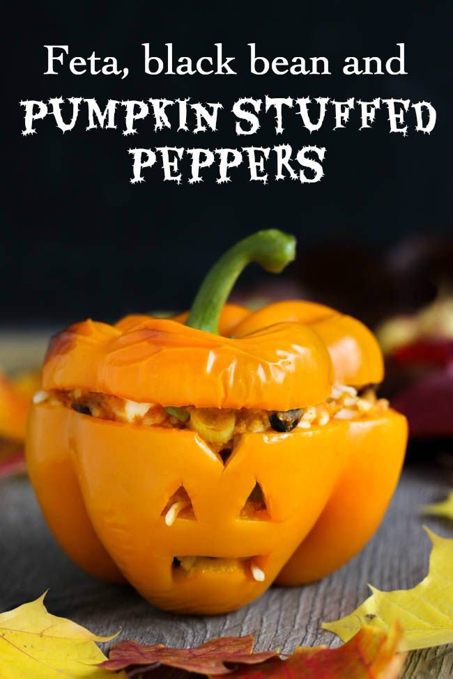 Feta, black bean and pumpkin stuffed peppers - these are a great healthy treat for Hallowe'en! The filling is really easy (and even no-cook, if you take a few short-cuts!) and is also yummy enough to serve at any other time, not just Hallowe'en!