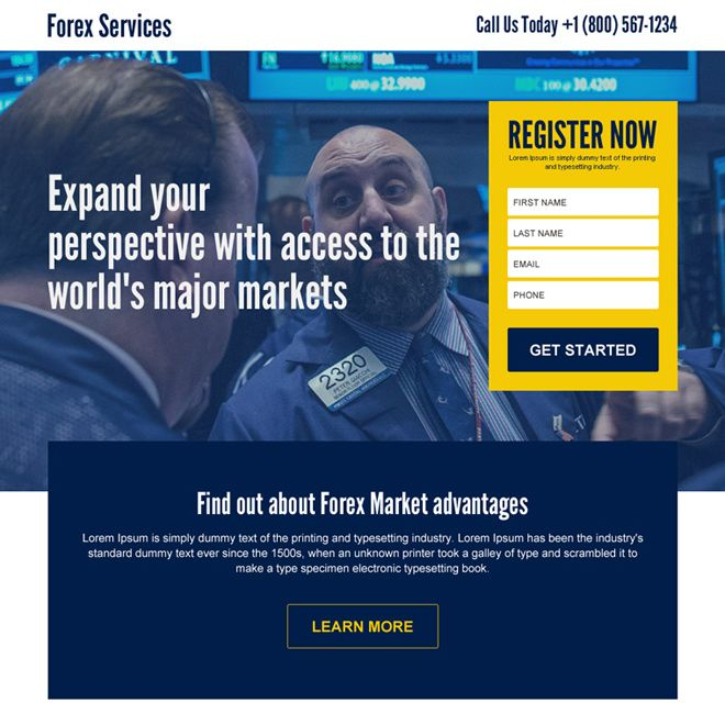 forex market access sign up lead generating landing page design Forex Trading example