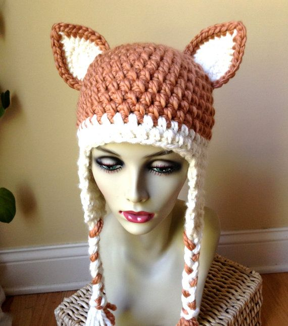 hat crochet fox hat ears beanie