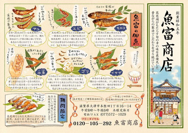 2014年 1月 湖魚の佃煮店 魚富商店 商品カタログチラシ イラスト、デザイン