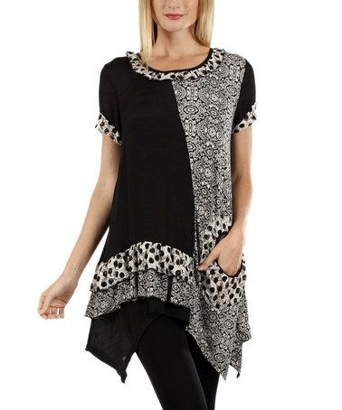 Look what I found on #zulily! Black & White Damask Sidetail Tunic #zulilyfinds