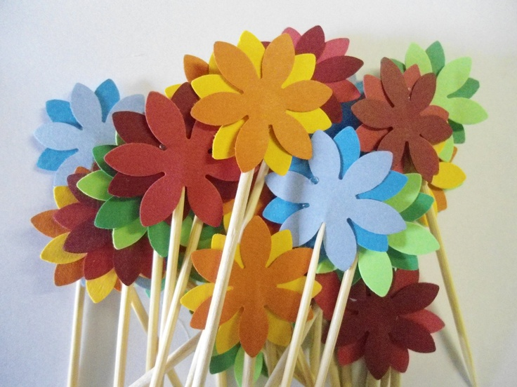 24 Bright Flower Toothpick Cupcake Cookie Party Toppers- Double Sided Picks- Medium Two Toned Picks