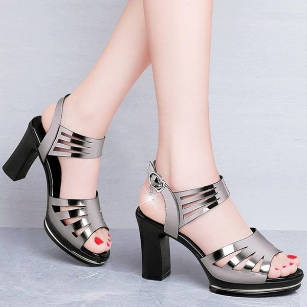 New Womens Platform Sandals Peep Toe Ladies Hollow Out High Heel Shoes Slip On