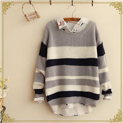 Japanese striped knit sweater Cute Kawaii Harajuku Fashion Clothing