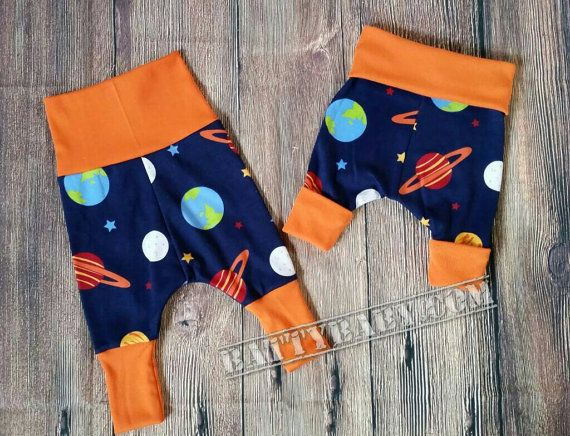 """Size newborn to 6mth - Magic """"Grow With Me"""" Harem Pants, super comfy! Handmade baby space theme pants for cloth or disposable nappies diaper"""