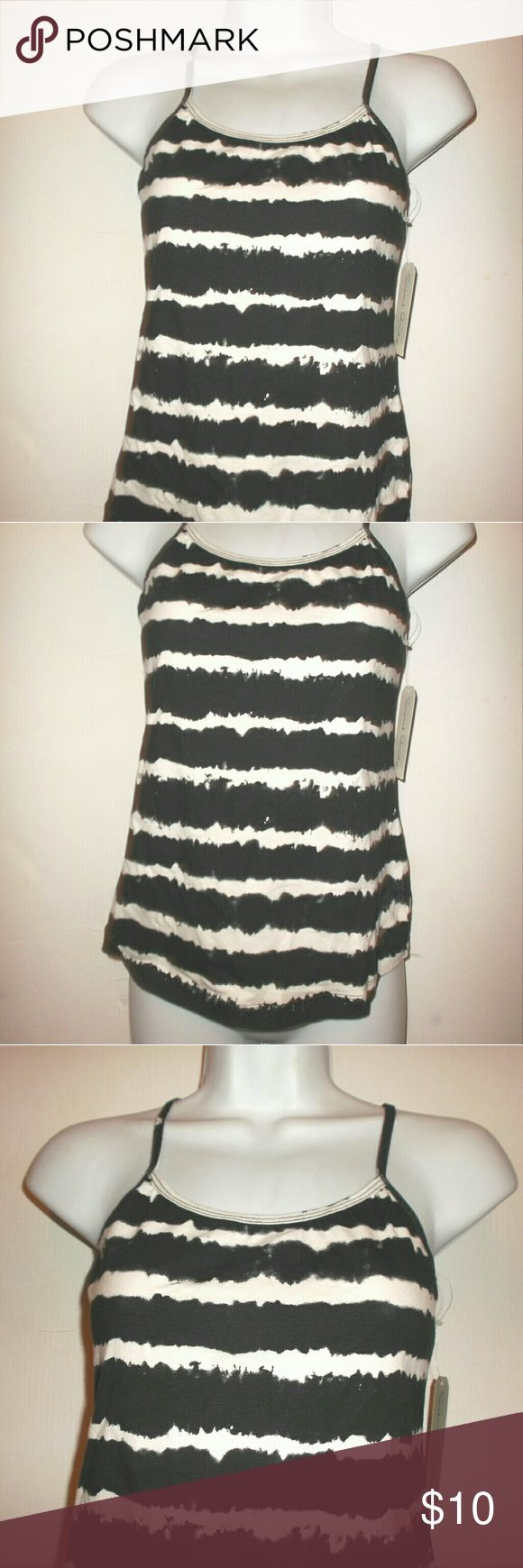 French Laundry Stretch Camisole Top Womens Medium New with tags!   A stretchy cami top by French Laundry in size medium.   Black and white stripes.   95 % cotton, 5 % Spandex fabric.   Very stretchy!   Adjustable stretch straps.    Measures 14.5 inches across the front from underarm to underarm  unstretched   15 inches underarm to bottom hem French Laundry Tops Camisoles