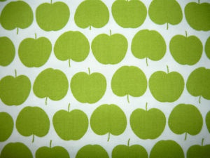 APPLE BASKET GREEN WHITE FRUIT COTTON CURTAIN DRESSMAKING CRAFT FABRIC PER~M | eBay