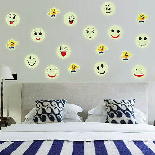 Removable Smiley Face Emoji Wall Sticker Luminous Decals Kids Room Art Decor #Affiliate