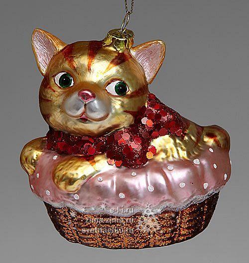"Елочная игрушка ""Котенок в корзинке"", 10 см, стекло ..."