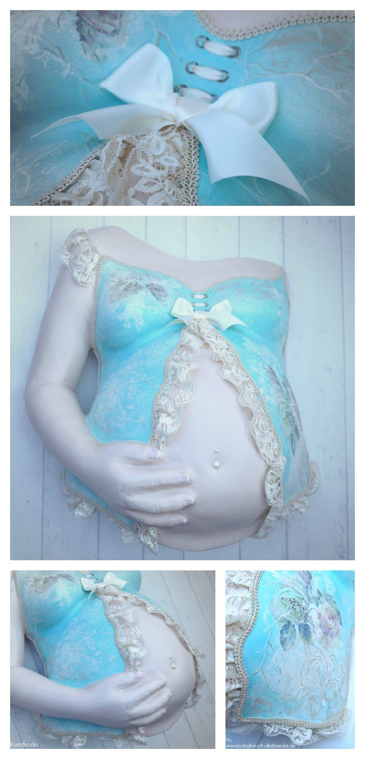 Romantic Vintage Pregnancy belly cast with arm and hand - Atelier Body-pArts wwww.babybauch-abdruecke.de