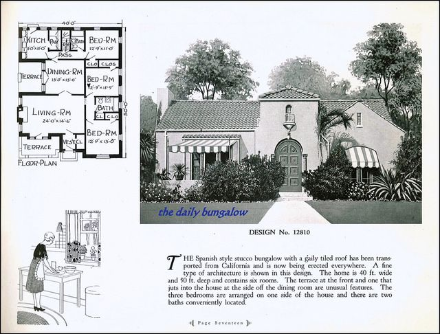 2036 best 1800 39 s 1940 39 s home interiors gardening for Spanish bungalow house plans