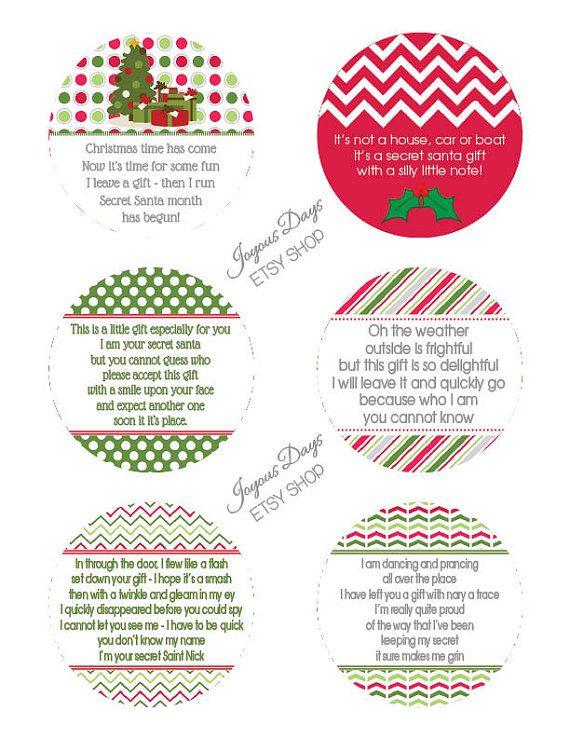 Secret Santa Gift Tags/Labels  Set of 12  3 inch by JoyousDays