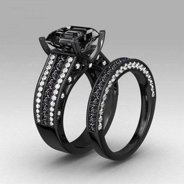 Jeulia Glamour Black - Set Anelli in Argento S925 placcato in Rodio con Diamante Sintetico Nero