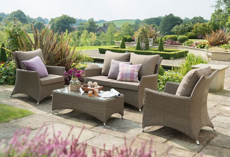 The Madison lounge set is a deep seating lounge set, ideal for relaxing. Made from a synthetic resin weave hand woven over a light but strong aluminium frame it is totally weatherproof and virtually maintenance free and although not waterproof the luxurious cushions are hard wearing and easy to clean.