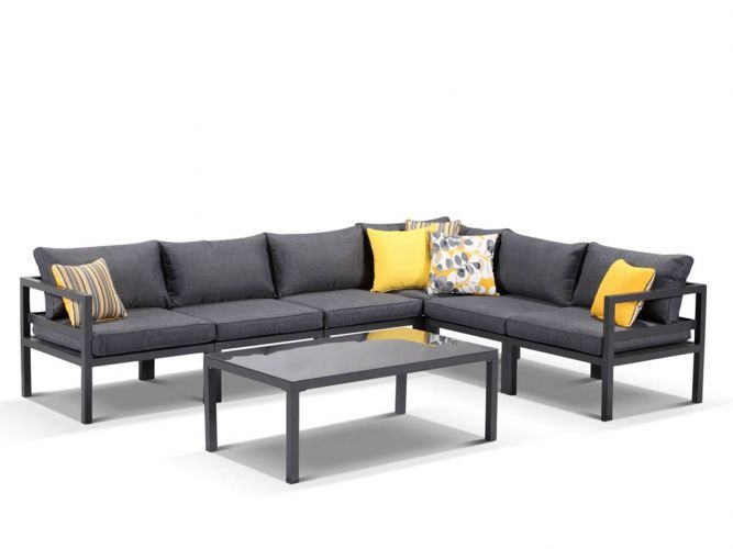 <p>Provence Aluminium 7pc Outdoor Modular Lounge Setting in Charcoal/Ash Grey</p> <p>The Provence 7pc Modular has a powder coated aluminium frame to keep each piece mobile and rust free with an aluminium frame that is welded to ensure a sound structure after years of use. Provence 7pc Modular offers you the versatility to change up the layout of this setting to suit your backyard.</p> <p>RRP: $1999</p> <p>1 year warranty on the Sp...