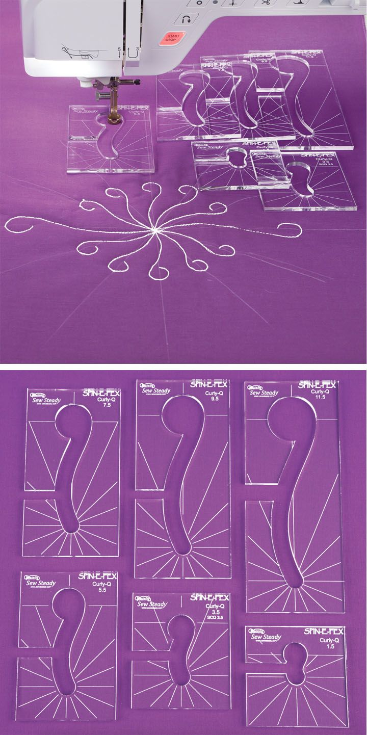 Curly Q Template Expansion Pack - Quilt perfect curly-q designs on your own sewing machine—no need for a long arm - This expansion pack is designed to be used with a previously purchased Ruler Foot and Template Set - Simple Circles Template Expansion Pack - Nancy's Notions - Ruler foot quilting