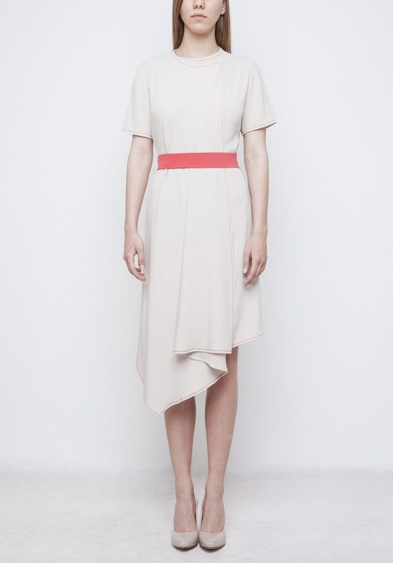 Image of Beige Dress With Belt